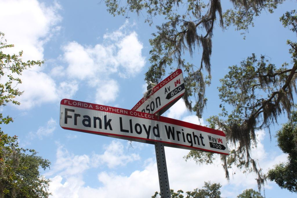 Frank Lloyd Wright Way sign at Florida Southern College